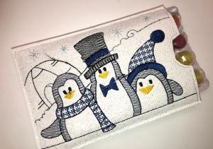 Adventskalender to go mit Bonbons, gestickt Pinguine, witzige Geschenkidee - Handarbeit kaufen