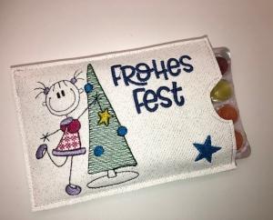 Adventskalender to go mit Bonbons, gestickt Baum, witzige Geschenkidee - Handarbeit kaufen