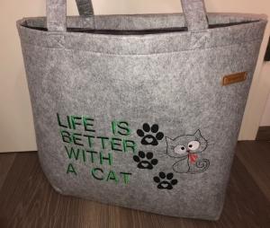 Sehr schöne bestickte Filztasche/ Tragetasche/ Shopper Katze - Handarbeit kaufen