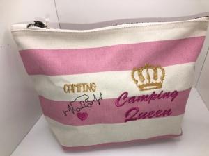 Sehr schöne bestickte Canvas Kosmetiktasche Anker, Camper - Handarbeit kaufen