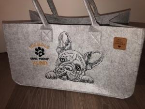 Sehr schöne bestickte Filztasche/ Tragetasche/ Shopper Bulldogge, Bully, Nicht ohne meinen Hund 45x30x20cm - Handarbeit kaufen