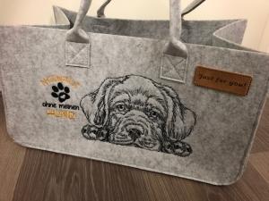 Sehr schöne bestickte Filztasche/ Tragetasche/ Shopper Labrador, Nicht ohne meinen Hund  - Handarbeit kaufen