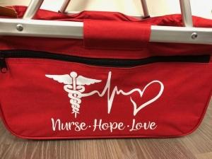 Sehr schöne bedruckter Einkaufskorb/ Korb Krankenschwester