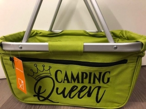 Sehr schöner bedruckter Einkaufskorb/ Korb Camping Queen - Handarbeit kaufen