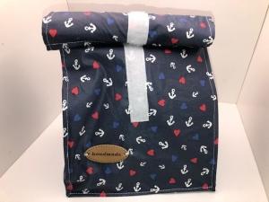Schöne genähte Lunchbag, Lunchbeutel, Brotbeutel, Tasche komplett aus beschichteter Baumwolle  - Handarbeit kaufen