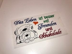 Schokihülle Schokoladenhülle/ Schokitasche/ Schokiverpackung Handarbeit Freunde - Handarbeit kaufen