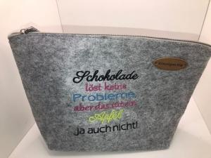 Schöne bestickte Kosmetiktasche/ Kulturtasche Filz Lustiger Spruch  - Handarbeit kaufen