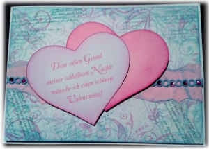 Karte zum Valentinstag mit Spruch - Dem süßen Grund meiner schlaflosen Nächte ...