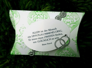 Silberhochzeit - kleine Box für Geldgeschenk mit Spruch zum Einbinden in einen Blumenstrauss geeignet