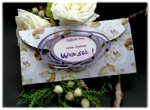 liebevoll gestaltete Gutscheinverpackung mit Spruch: Erfülle Dir einen kleinen Wunsch