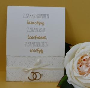 Goldene Hochzeit - handgearbeitete Schiebekarte mit kleinem Umschlag für ein kleines Geschenk