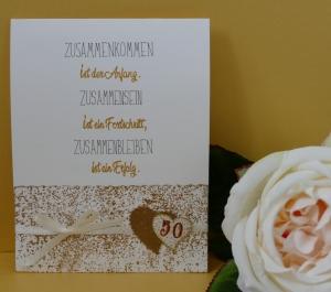 Goldene Hochzeit - handgearbeitete Schiebekarte mit kleinem Umschlag für ein kleines Geschenk (Kopie id: 100188998)