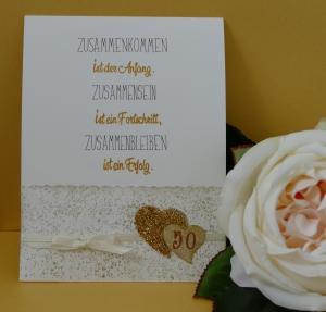 Goldene Hochzeit - handgearbeitete Schiebekarte mit kleinem Umschlag für ein kleines Geschenk (Kopie id: 100188999)