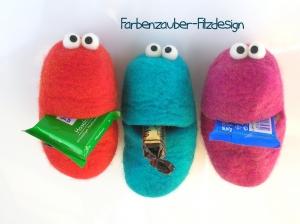Kühlschrankmagnet - Der Bote Bäuchling - in der Farbe Rot, handgefilzt