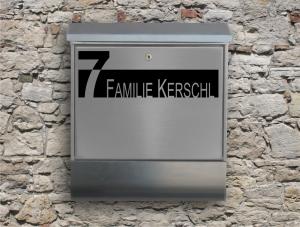 Briefkastentattoo in Wunschfarbe - Stripe 02 - 15cm Breite - Namensaufkleber - Adressaufkleber - Personalisiert - Individuell - Individualisierbar - Design Out Of Norm