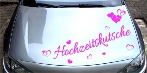 Autotattoo in Wunschfarbe - Hochzeitskutsche - Herzen - Herz - Hochzeitsaufkleber - Hochzeitssticker - Hochzeit - Individualisierbar - Design Out Of Norm