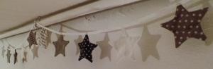 Wimpelkette Girlande mit Sternen Landhausstil