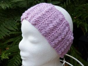 Gehäkeltes Stirnband in Rosa * Kopfumfang ca. 55 cm * 100 % Wolle