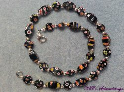 Ein Traum  aus schwarzen Millefori Perlen -Versandkostenfrei-