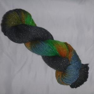 Handgefärbte Sockenwolle (4-fädig) glitzernde Nordlichter
