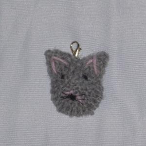 handgestrickter Schlüsselanhänger in Form eines Katzenkopfes Lucy