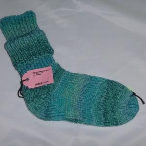 handgestrickte dicke Socken in türkis Größe 38/39 blue Lagoon
