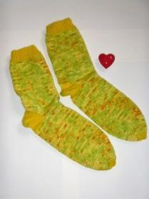 * SALE * handgestrickte Socken in Größe 38/39 Zitrusfrüchte