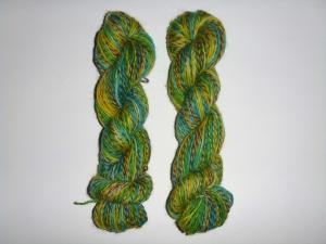 Handgefärbte Sockenwolle im Ministrang (4-fädig) gelb-türkis