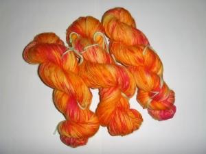 handgefärbte  Wolle (100% Wolle) Indian Summer (100g/ 15€)