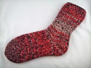 handgestrickte extra dicke Socken in rot-schwarz mit Glitzerfaden Größe 38/39