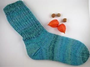 Handgestrickte extra dicke Socken in türkis Größe 42/43 - Handarbeit kaufen