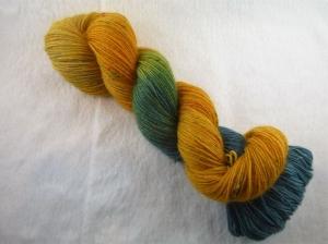 Handgefärbte Sockenwolle Tweed (100gr /420m) Orange Blue