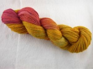 Handgefärbte Sockenwolle Tweed (100gr /420m) Tequila Sunrise - Handarbeit kaufen