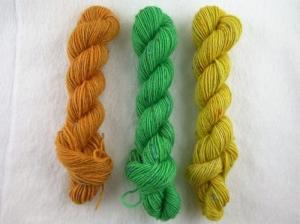 Handgefärbte Sockenwolle Tweed im Ministrang 3-er Pack (orange, grün und gelb)