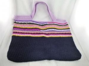 handgehäkelte Tasche in dunkelblau und bunt aus Baumwolle kaufen - Handarbeit kaufen