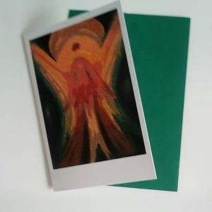 - Engel- Grußkarte  - ein kleines Kunstwerk für jede Gelegenheit Mit grünem Umschlag