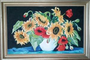 Sonnenblumen mit Mohn, klassisch,Ölgemälde, Original, Unikat