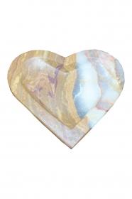 Dekoschale in Herzform aus mexikanischem Onyx Marmor (Naturstein) aus seltenem ONYX ¨Verde Dunas¨