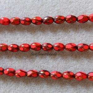 15 Stück böhmische Glasperlen, Table cut Perlen oval - koralle goldbraun - Handarbeit kaufen