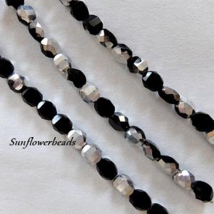 1 Strang (14 St.) böhmische Glasschliffperlen schwarz silber, 8mmm - Handarbeit kaufen