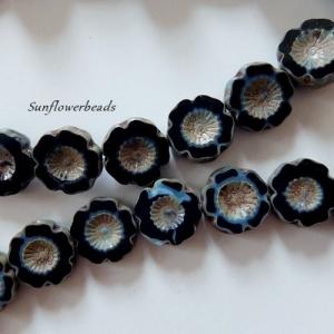 6x böhmische Table cut Perlen, Glasperlen, Hawaii Blume, schwarz picasso - Handarbeit kaufen