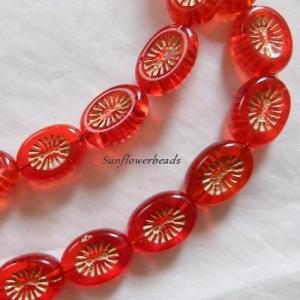 10x schön gemusterte böhmische Table cut Perlen, oval 14 x 11 mm, hyacinth orange - Handarbeit kaufen