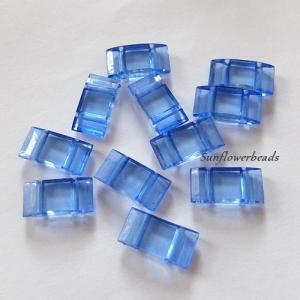 10x Trägerperlen aus Acryl mit zwei Fädellöchern, hellblau, blau, saphire, zum Umfädeln mit Delicas oder Rocailles, für Ketten, Armbänder, Anhänger usw. - Handarbeit kaufen
