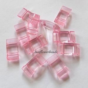10x Trägerperlen aus Acryl mit zwei Fädellöchern, rosa, zum Umfädeln mit Delicas oder Rocailles, für Ketten, Armbänder, Anhänger usw. - Handarbeit kaufen