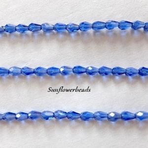1 Strang Glasschliff Tropfen blau  - 16 Stück, böhmische Glasperlen, Glastropfen - Handarbeit kaufen