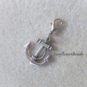 1 silberner Anker schön verziert mit Karabiner, Charm, Anhänger, Wechselanhänger, Mitbringsel - Handarbeit kaufen