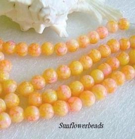 50 Glasperlen 8 mm, gelb orange marmoriert, zur kreativen Schmuckgestaltung - Handarbeit kaufen