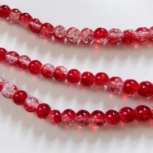 25 Crackle Perlen kristall und rot, rund, Größe 6mm zum Herstellen von Perlenschmuck - Handarbeit kaufen