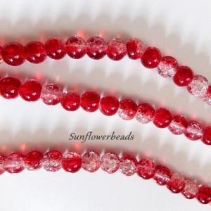 25 Crackle Perlen kristall und rot, rund, Größe 8mm zum Herstellen von Perlenschmuck - Handarbeit kaufen