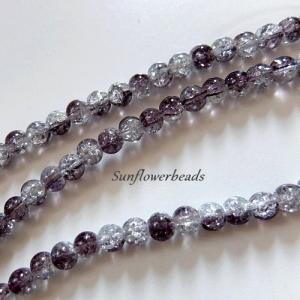 25 Crackle Perlen kristall und dunkelgrau, rund, Größe 6 mm zum Herstellen von Perlenschmuck   - Handarbeit kaufen